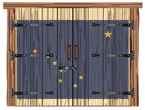 Porte de grange fermée avec le drapeau d'état de l'Alaska illustration de vecteur