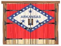 Porte de grange fermée avec le drapeau d'état de l'Arkansas illustration stock