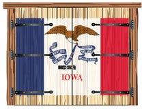 Porte de grange fermée avec le drapeau d'état de l'Iowa illustration de vecteur