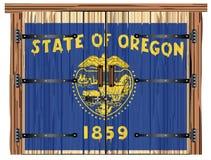 Porte de grange fermée avec le drapeau d'état de l'Orégon illustration libre de droits