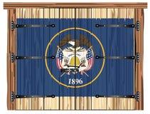 Porte de grange fermée avec le drapeau d'état de l'Utah illustration stock