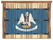 Porte de grange fermée avec le drapeau d'état de la Louisiane illustration libre de droits