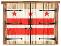 Porte de grange fermée avec le drapeau d'état de Washington DC illustration stock