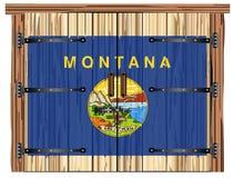 Porte de grange fermée avec Montana State Flag illustration de vecteur