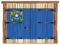 Porte de grange fermée avec Nevada State Flag illustration de vecteur