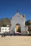 Porte de la basilique de Copacabana, Bolivie Photographie stock libre de droits