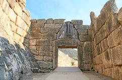 Porte de lion chez Mycenae Images libres de droits