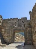 Porte de lion chez Mycenae, Grèce photographie stock