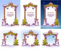 Porte de Noël avec le pin de fourmi de bonhomme de neige Vecteur Image stock