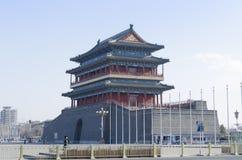 Porte de Qianmen Zhengyangmen du zénith Sun dans le mur historique de ville de Pékin Images libres de droits