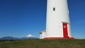 Porte de rouge de Taranaki Nouvelle-Zélande de phare Image stock