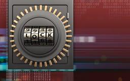 porte de serrure sûre de code en métal 3d Images libres de droits