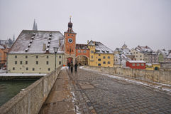 Porte de ville de Brucktor, Ratisbonne, Allemagne Photographie stock libre de droits