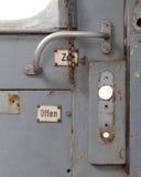 Porte de vintage sur le compartiment de train Photos libres de droits