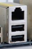Porte del USb e di Ethernet Fotografia Stock Libera da Diritti