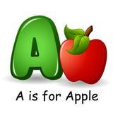 Porte des fruits l'alphabet : A est pour des fruits d'Apple Images libres de droits