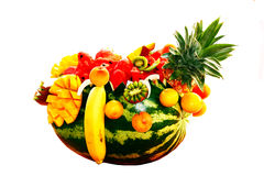 Porte des fruits la composition multicolore d'isolement Images stock