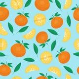 Porte des fruits le vecteur sans couture de modèles de mandarine illustration libre de droits