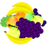 Porte des fruits les bananes-figues de raisins Photos libres de droits