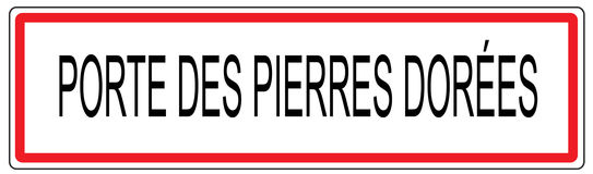 Porte des Pierres Dorees city traffic sign illustration in Franc Stock Photography