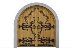 Porte di legno con i modelli del ferro battuto fotografia stock libera da diritti