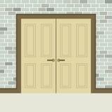 Porte di legno di progettazione piana doppie Fotografia Stock Libera da Diritti