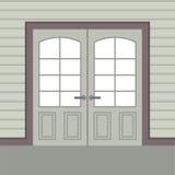 Porte di legno di progettazione piana doppie Immagine Stock Libera da Diritti