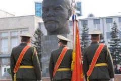 Porte-drapeau et Lénine Photographie stock libre de droits