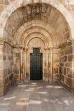 Porte du nord d'église de Santiago en La Coruña Photographie stock