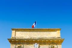 Porte du Peyrou 1693, een stadspoort in Montpellier, Frankrijk stock afbeelding