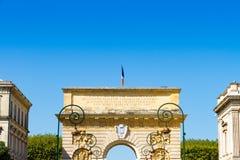 Porte du Peyrou 1693, ein Stadttor in Montpellier, Frankreich lizenzfreie stockbilder