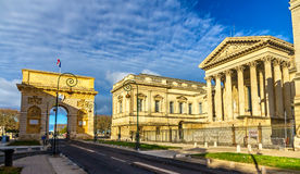 Porte du Peyrou and Palais de Justice in Montpellier Royalty Free Stock Photo