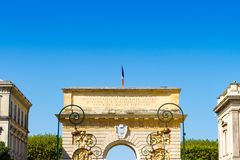 Porte du Peyrou 1693, une porte de ville à Montpellier, France images libres de droits
