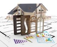 Porte e finestre alla casa Isolamento di energia illustrazione di stock