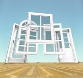 Porte e scelta delle finestre, paesaggio Immagini Stock Libere da Diritti