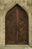 Porte en bois antique dans le musée Shirvanshakhs Baku Azerbaijan Image libre de droits