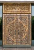 Porte en bois découpée traditionnelle, l'Ouzbékistan Images libres de droits