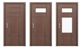 Porte en bois d'isolement sur le blanc Photo libre de droits