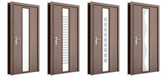 Porte en bois d'isolement sur le blanc Images stock