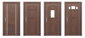 Porte en bois d'isolement sur le blanc Photos stock