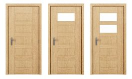 Porte en bois d'isolement sur le blanc Photographie stock libre de droits