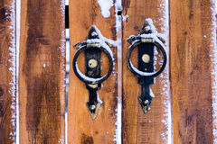 Porte en bois jaune Image libre de droits