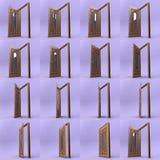 Porte en bois ouverte avec l'insertion en verre 3d Images stock
