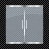 Porte en verre d'isolement sur le fond transparent Portes à deux battants d'entrée pour le mail, bureau, boutique, magasin, bouti illustration stock