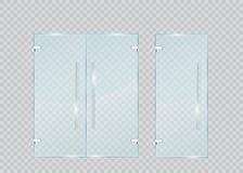 Porte en verre sur le fond transparent Vecteur Image stock