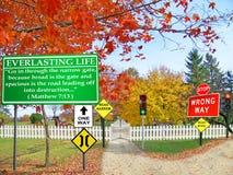 Porte et route étroites à la vie éternelle Photo stock
