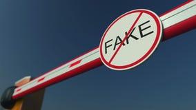 Porte fermée de barrière sans le FAUX signe Rendu 3d conceptuel Photo stock