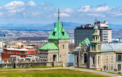 Porte Kent and Jesuit Chapel in Quebec City, Canada Royalty Free Stock Images