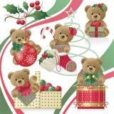 porte le nounours de Noël illustration de vecteur