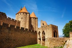 Porte Narbonnaise of Carcassonne fortification. Porte Narbonnaise gate at ancient fortified city of Carcassonne in france stock image